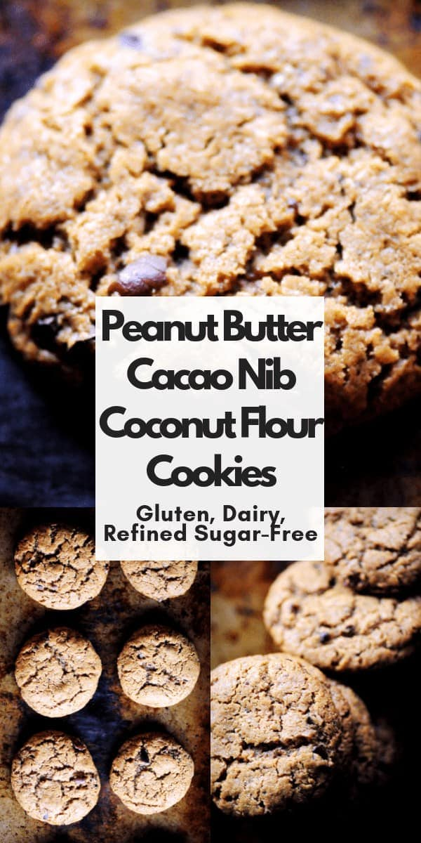 Are you looking for an alternative to chocolate chip cookies? These peanut butter coconut flour cookies are easy, healthy, delicious, require just one bowl and make a perfect recipe for trying out cacao (cocoa) nibs! Gluten-free, Dairy-free, Refined sugar-free cookies that are perfectly chewy and oh so TASTY!