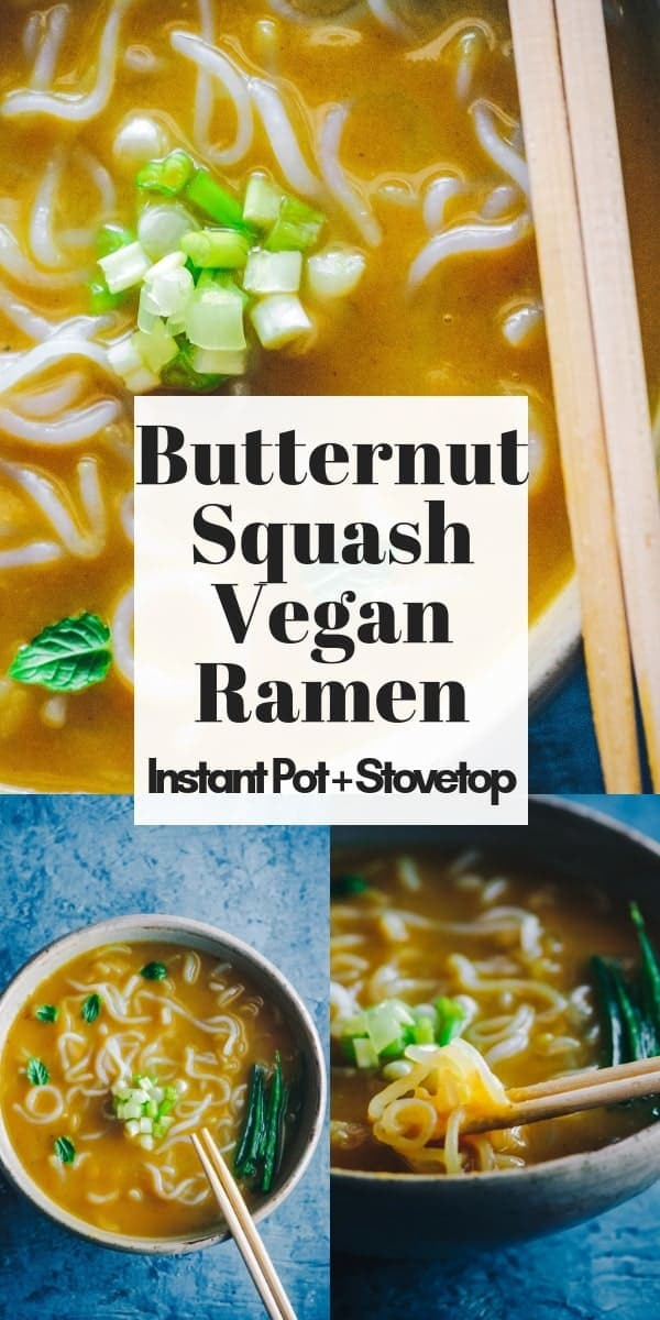 This quick & easy autumn-inspired vegan ramen bowl is filled with nutritious and delicious butternut squash for a creamy texture and comforting flavor. Whether using rice, traditional ramen, or miracle a.k.a. shirataki noodles, this gluten-free vegan ramen dish can be made in an Instant Pot pressure cooker or on the stovetop for a super healthy and delicious noodle bowl of goodness!
