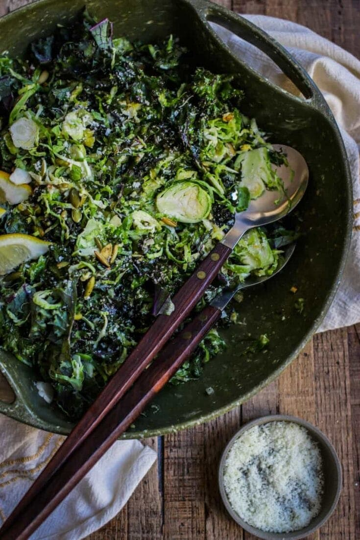 Crazy Delicious Kale and Brussels Sprouts Salad