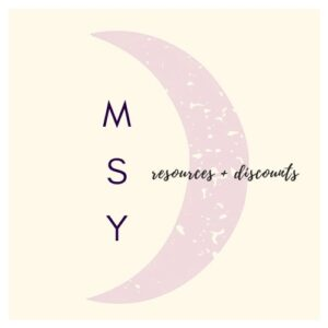a moon logo with the words resources and discounts