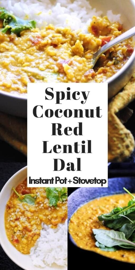 a pinterest pin image for spicy coconut red lentil dal recipe