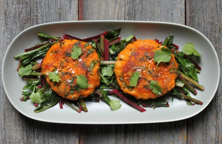 Sweet Potato Patties with Dandelion Greens