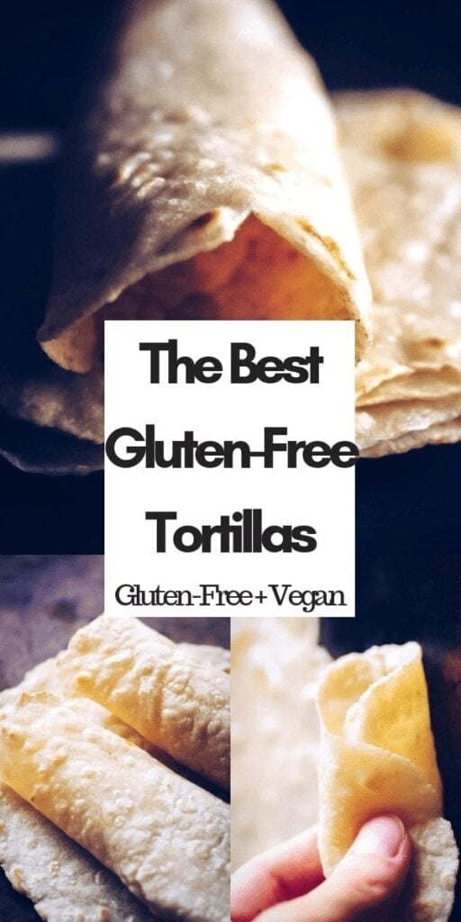 a pinterest pin image for a gluten free tortilla recipe