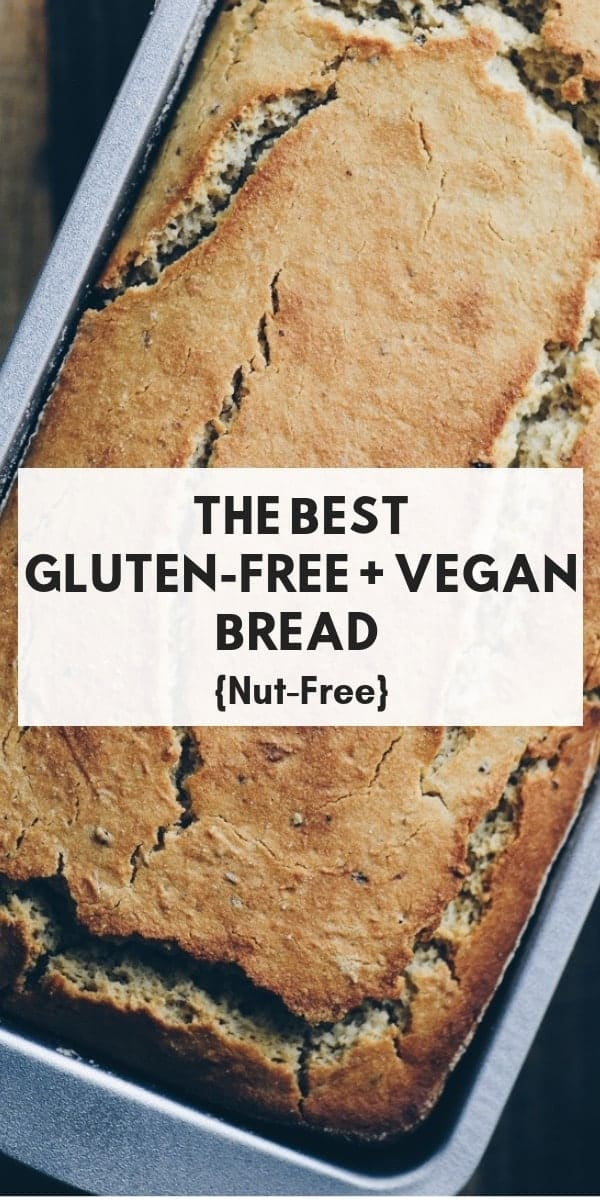 An easy, healthy, and delicious gluten-free vegan bread perfect as is, for sandwiches, toast, etc. It's a family favorite and the BEST gluten-free vegan bread (in my opinion)! #glutenfreebread #veganbread