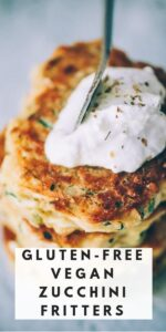 a pinterest pin image for gluten free vegan zucchini fritters