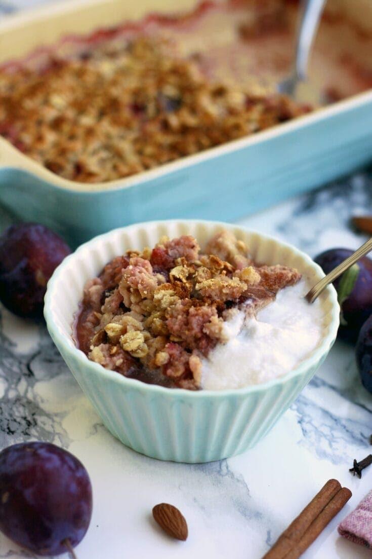 Vegan Plum Crisp with Coconut • Happy Kitchen