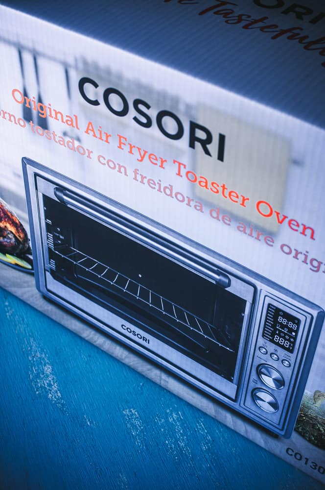 a cosori air fryer toaster oven box packaging