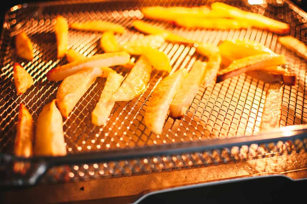 a close up of air fryer french fries