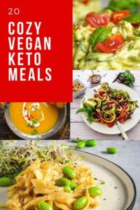 a pinterest pin image for vegan keto meal recipes