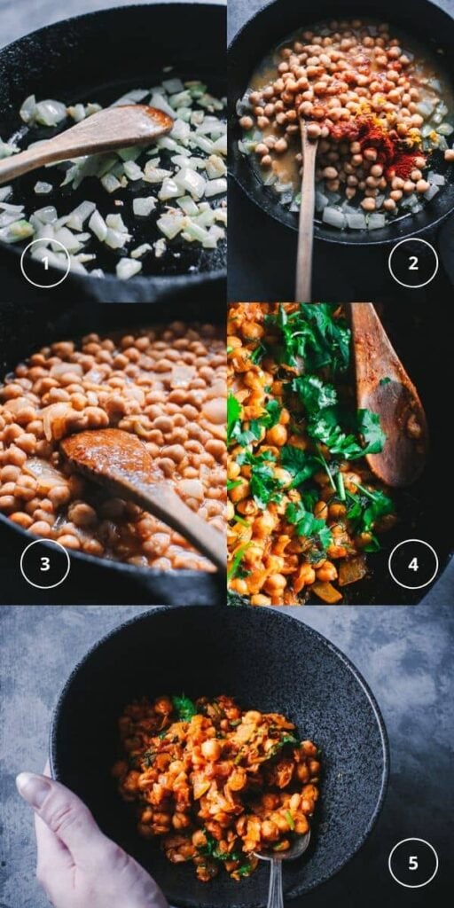 step by step process photos for making harissa chickpeas