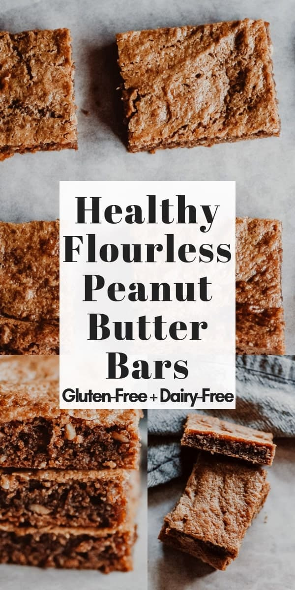 These easy, healthy and delicious Gluten-Free Peanut Butter Bars are flour-free, dairy-free, refined sugar-free and made with only a few simple and wholesome ingredients!