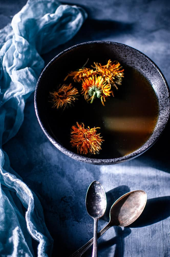 a pinterest pin image for herbal broth recipe