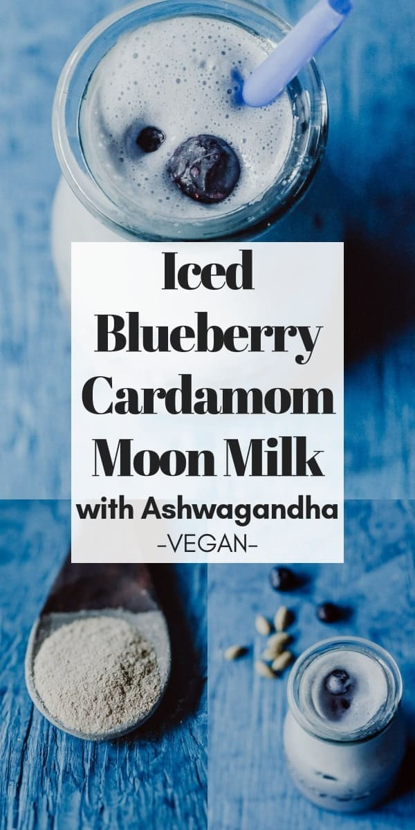 This relaxing Blueberry Moon Milk is delicately spiced with cardamom and served over ice for a refreshing drink perfect for those warmer days and nights. And with the addition of the adaptogen ashwagandha, this Iced Moon Milk is filled to the brim with calming and stress-relieving properties, too!