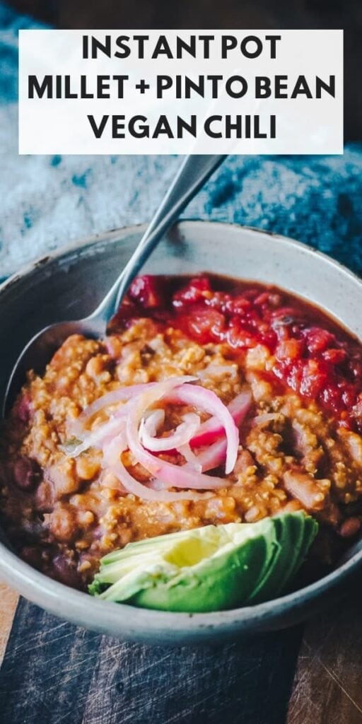 a pinterest pin image for instant pot vegan chili