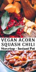 a pinterest pin image for acorn squash chili