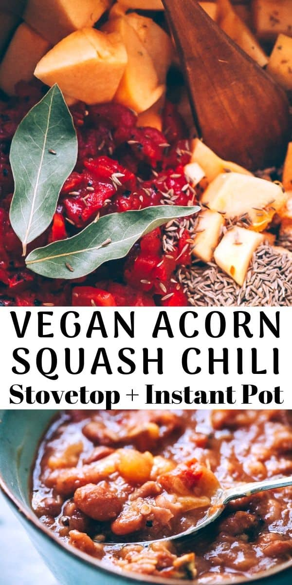 This super easy, healthy and delicious vegetarian chili recipe is packed with acorn squash, pinto beans and the perfect blend of spices for a most hearty and comforting autumn-inspired Instant Pot pressure cooker dish! Plus, stovetop instructions! #acornsquashchili