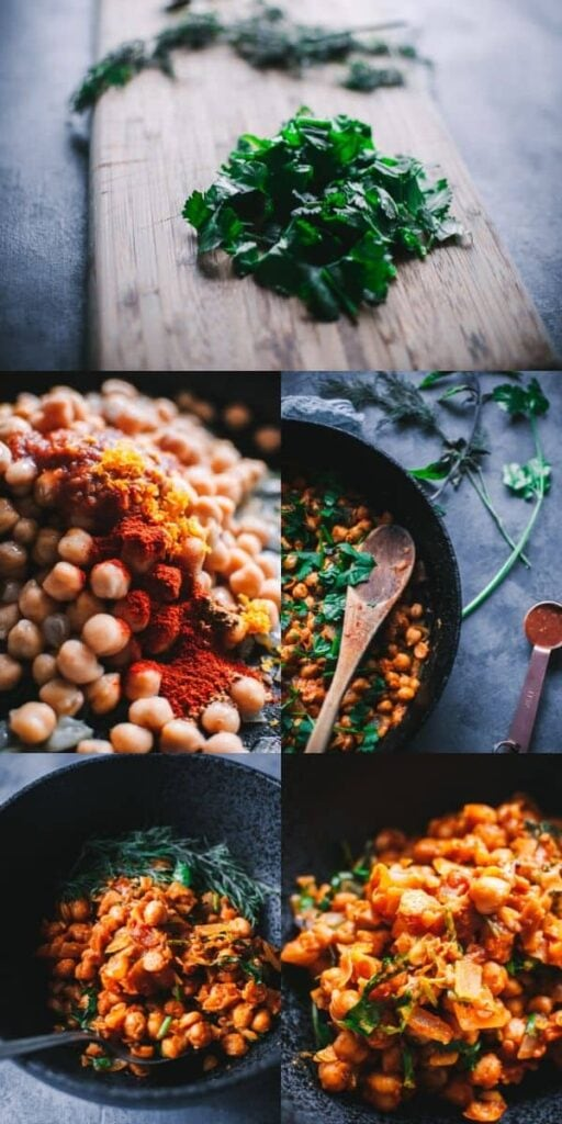 a pinterest pin image for moroccan chickpeas