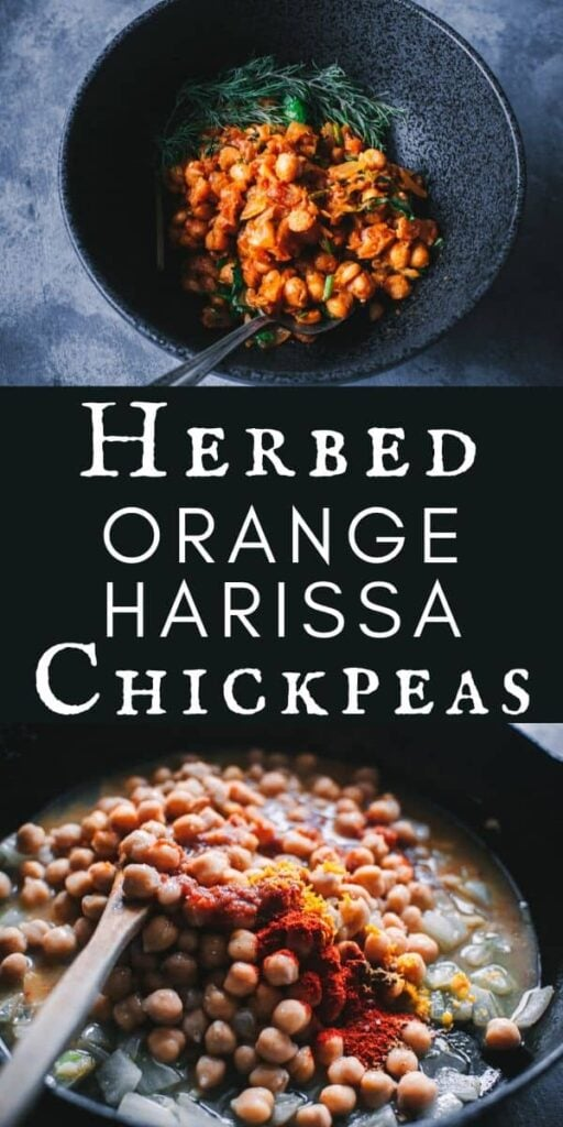 a pinterest pin image for harissa chickpeas