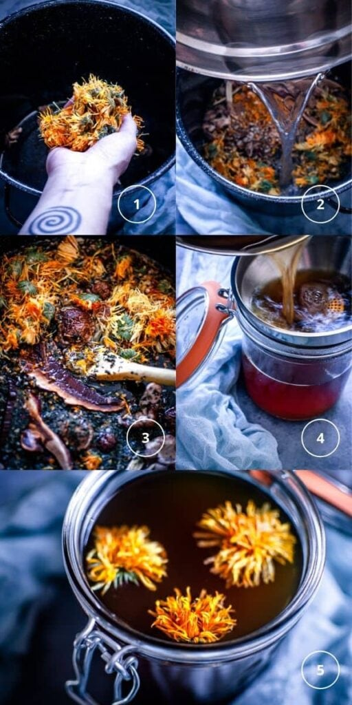 a pinterest pin image for herbal healing broth recipe with mushrooms