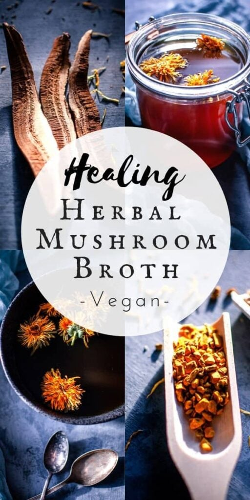 a pinterest image for healing herbal mushroom broth recipe