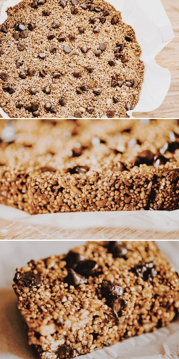 Super nutritious and delicious Chocolate Chip Quinoa and Steel Cut Oat Granola Bars! These make a perfect gluten-free and vegan snack!