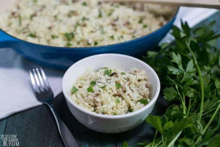 Easy Mushroom Cauliflower Rice Risotto (Vegan)