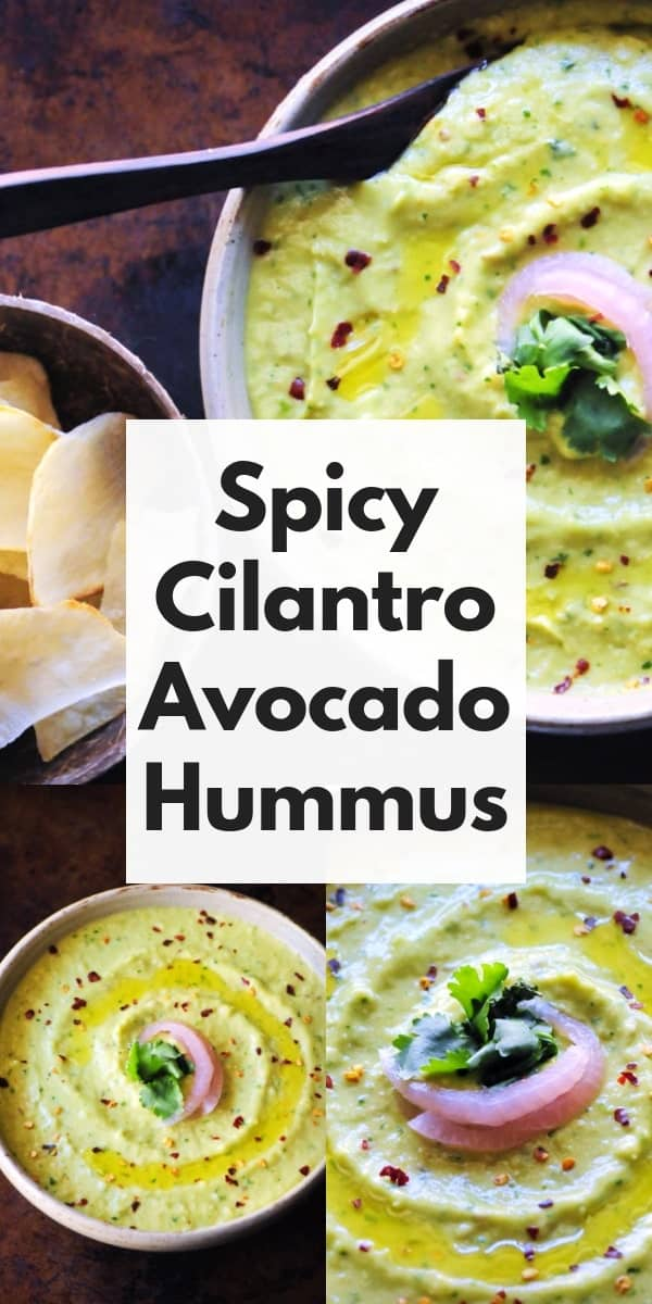 An ultra creamy, healthy, and delicious Spicy Cilantro Avocado Hummus that is vegan, gluten-free, and super quick and easy to make! #avocadohummus