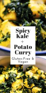a pinterest pin image for spicy kale potato curry recipe