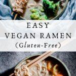 a pinterest pin image for vegan ramen
