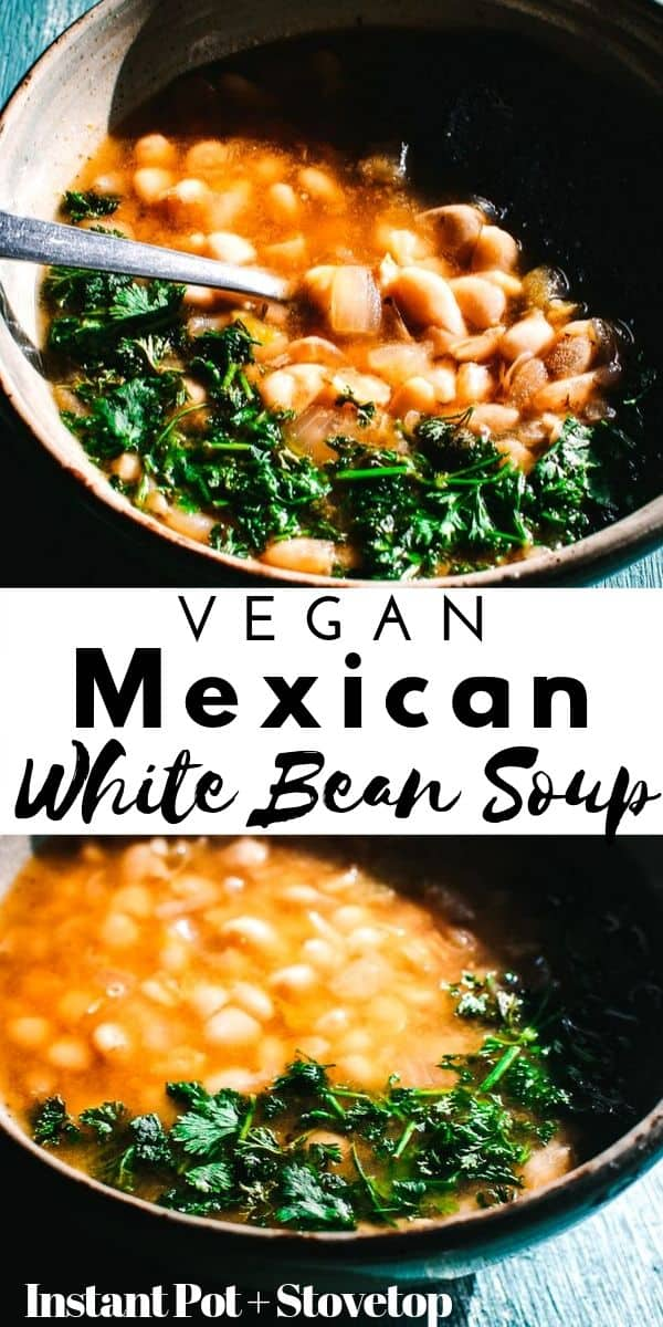 This comforting and heart-warming White Bean Soup is packed with flavorful Mexican spices for a truly delicious vegan soup recipe that is healthy, easy to make and can be made with soaked or unsoaked dry white beans! Both Instant Pot pressure cooker and stovetop instructions are included for this spicy, smoky, keto friendly soup!