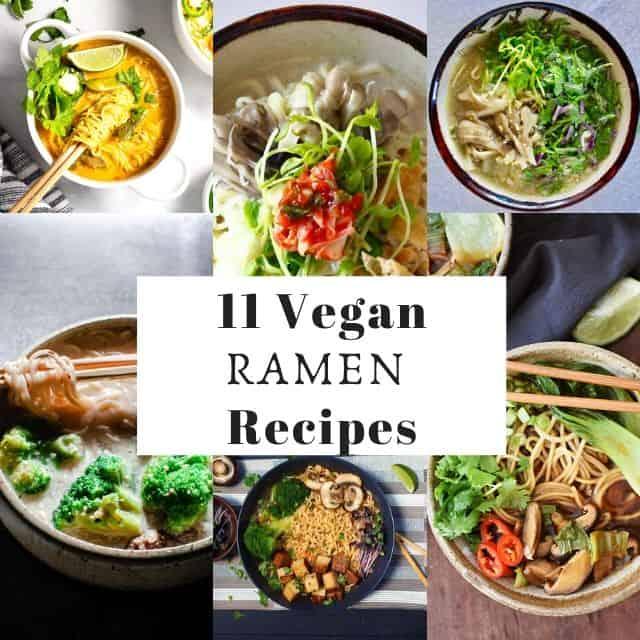 a six image grid of vegan ramen recipes images