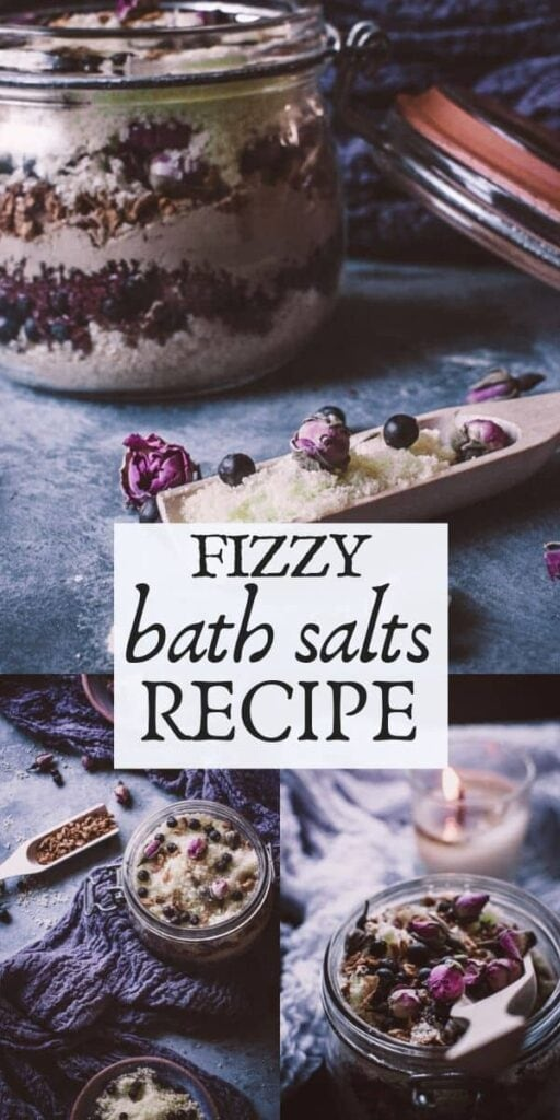 a pinterest pin image for fizzy bath salts recipe