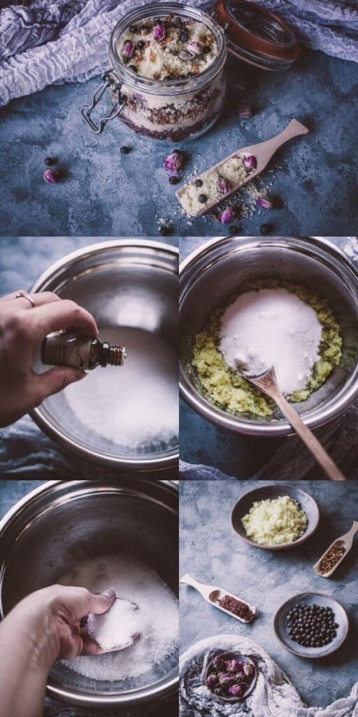 a pinterest pin image for how to make bath salts
