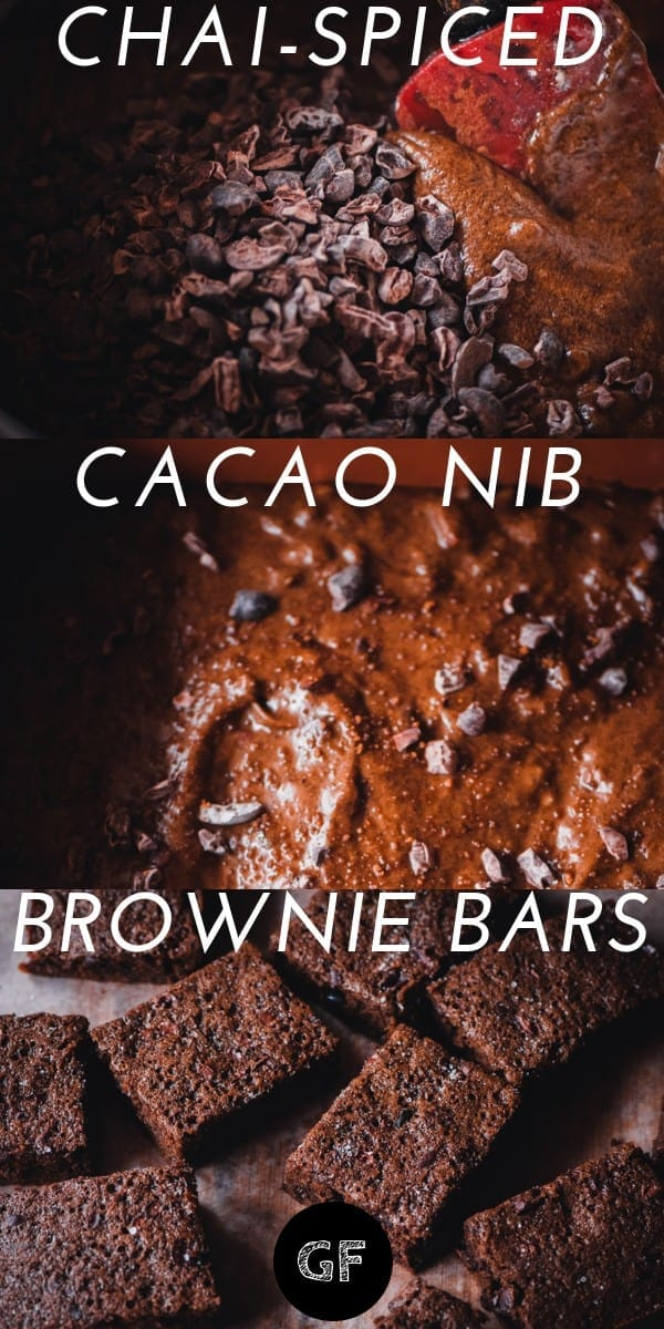 These easy and delicious Chai-Spiced Cacao Nib Brownie Bars are delightfully chocolate-y, subtly spiced, and packed with iron, fiber and potassium from the cacao nibs. Not to mention, they have an amazing texture, too. This gluten-free treat makes a great breakfast, snack or dessert as it is not over-the-top sweet (but big on flavor!).