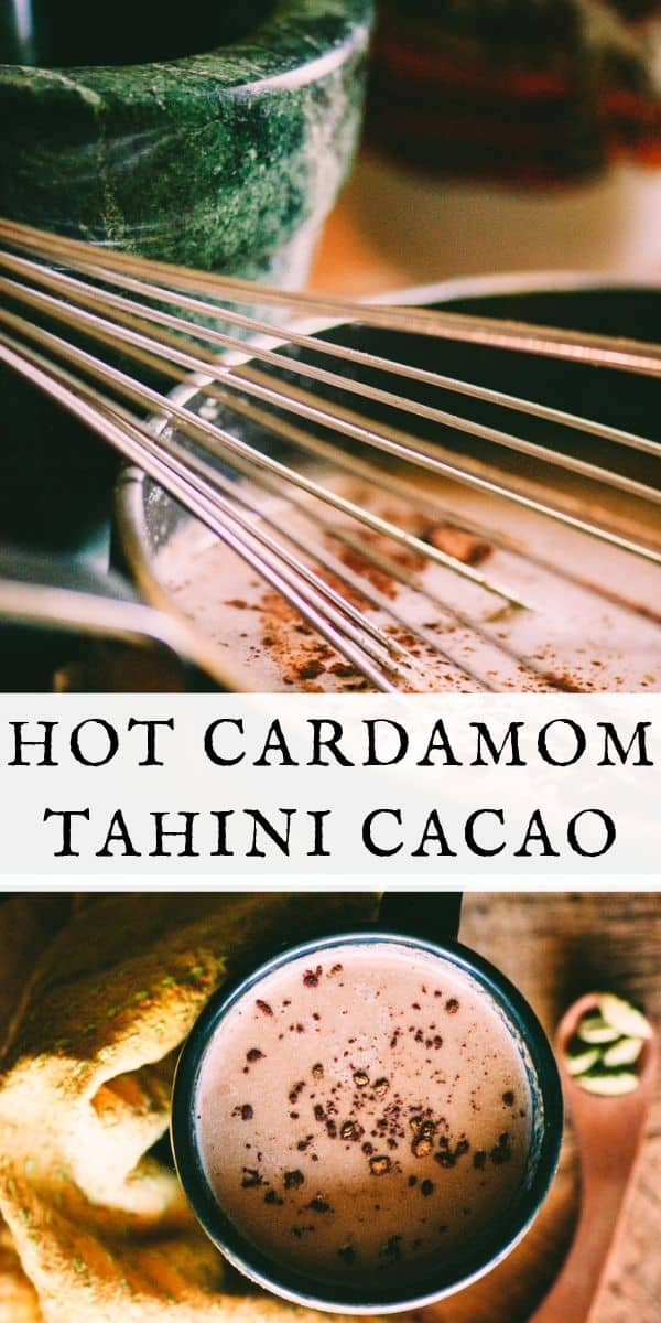 A warm, healthy, tasty, comforting and nourishing take on hot chocolate! This hot cacao recipe is vegan, gluten-free and full of heart-healthy cacao, delicious cardamom, and protein-rich tahini. The perfect winter beverage!