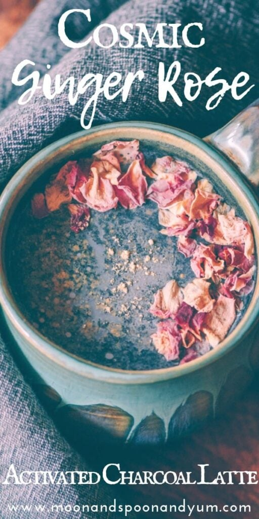 a pinterest pin image for charcoal latte recipe