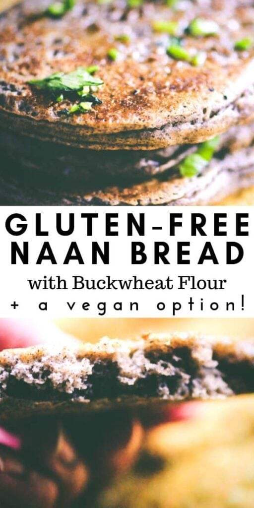 a pinterest pin for gluten free naan
