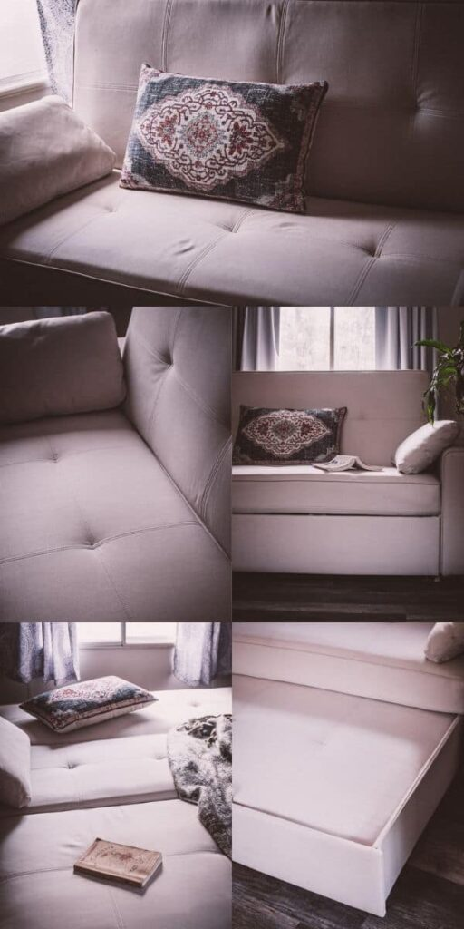 a pinterest pin image for the futon shop eco sofa