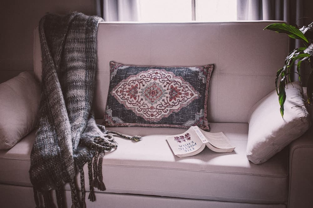 eco sofa with throw world market pillow and the poetic edda book