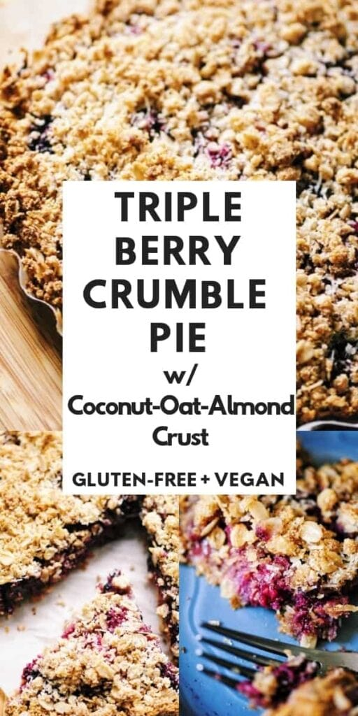 a pinterest pin image for vegan crumble pie recipe