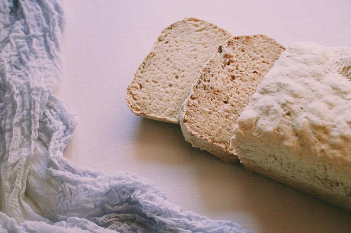 a loaf of white vegan gluten free bread