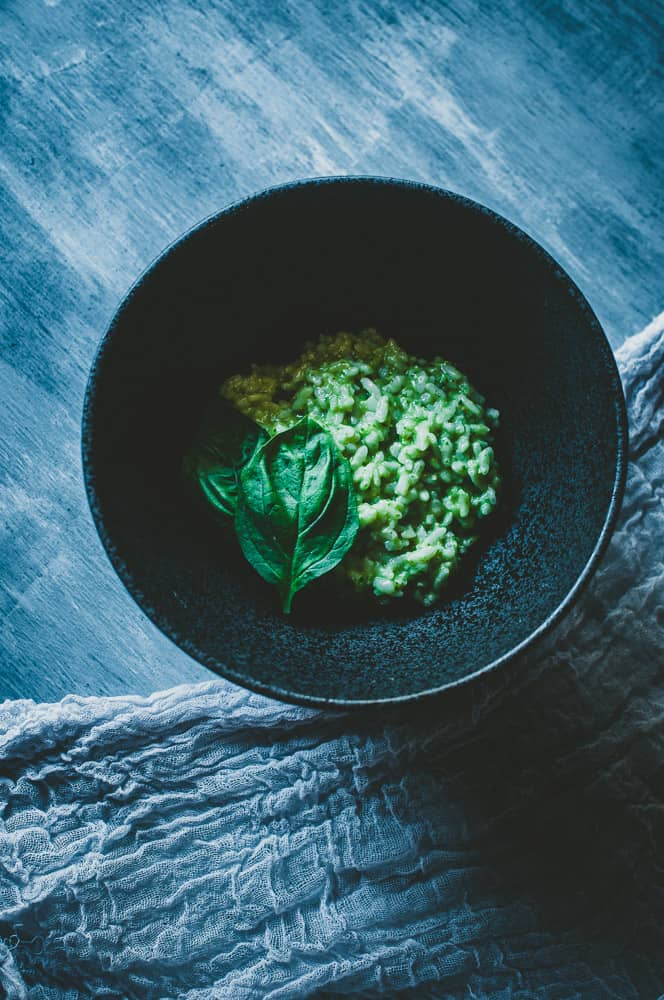a pinterest pin image for vegan risotto