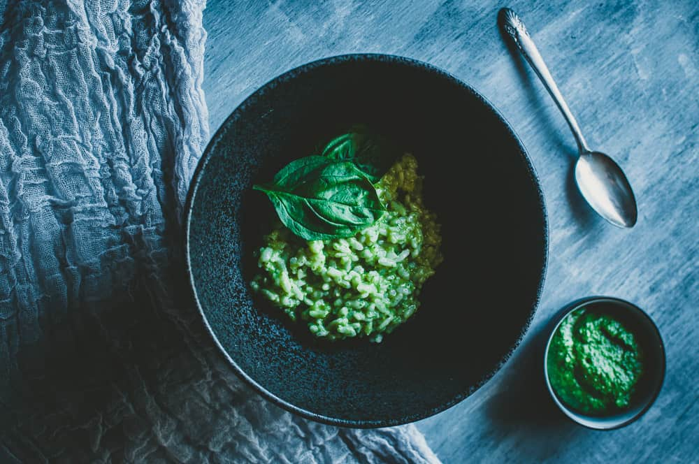 a pinterest pin image for vegan pesto risotto