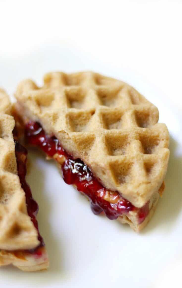 Mini Gluten-Free Peanut Butter & Jelly Waffle Sandwiches (Vegan)