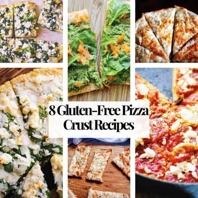 a six image grid of gluten free pizzas