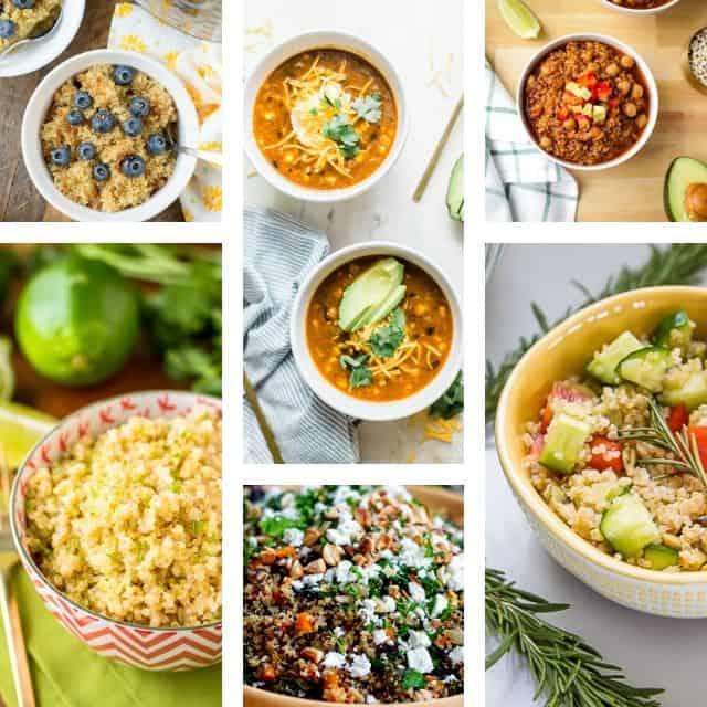 a six image grid of quinoa recipes