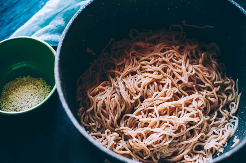ramen noodles in pot