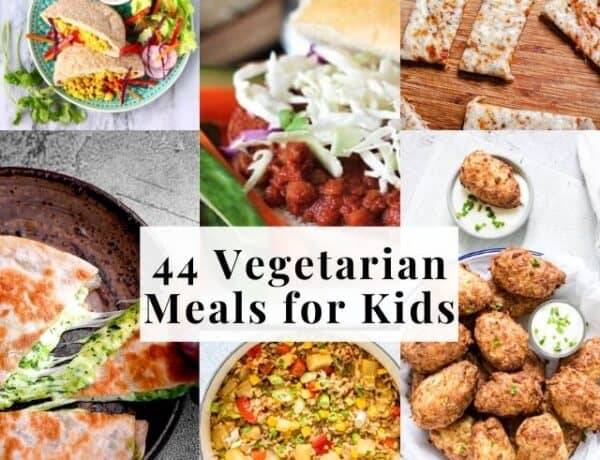 six image grid of vegetarian kids recipes