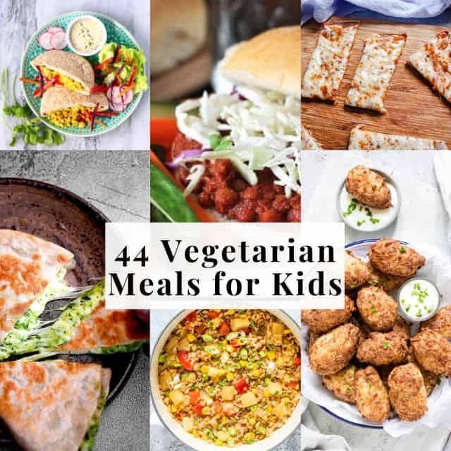 six image grid of vegetarian kids recipes