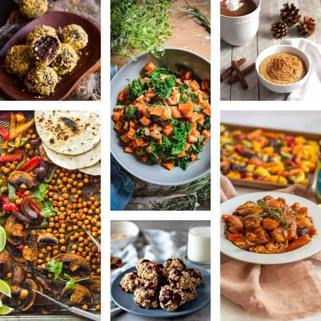 a six image grid of plant based recipes